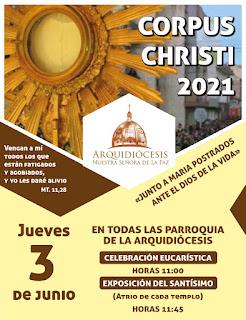 SOLEMNIDAD DEL CUERPO Y LA SANGRE DE CRISTO 2021