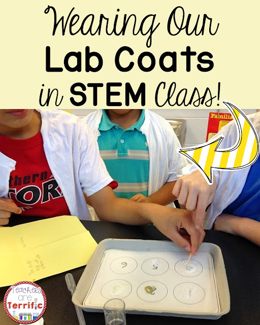 Chemical and Physical Changes: This is the most fun ever! Lab coats for kids. These are so easy to make. Just buy large white t-shirts and cut them down the middle of the front and you have lab coats!