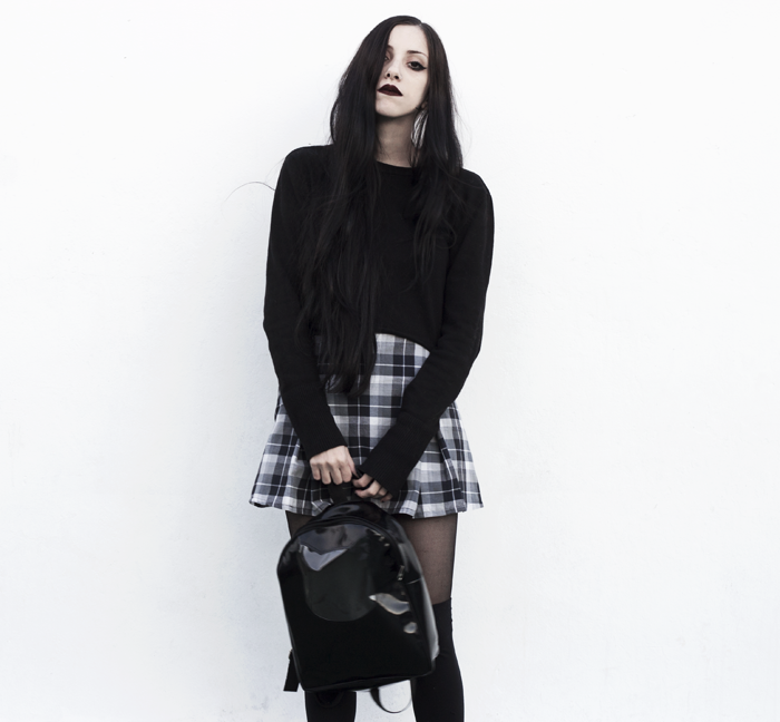 lune, nocturne, blog, grunge, outfit, look, blogger, backpack, plaid, skirt