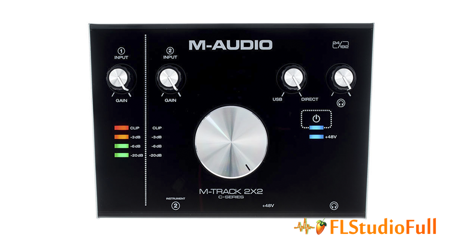 Parte superior da interface de áudio M-Audio M-Track 2x2