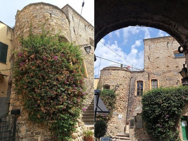 due immagini del castello dei clavesana a cervo