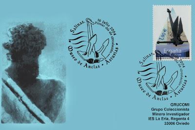 tarjeta, matasellos, PDC, sello, filatelia, Museo de las Anclas, Salinas