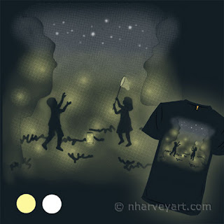 """""""On a Summer's Eve"""" Submission digital art, children catching fireflies"""