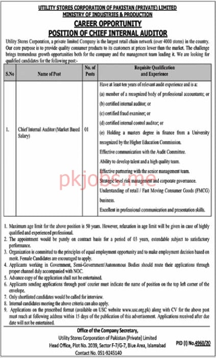 Latest Utility Stores Corporation of Pakistan Management Posts 2021 Ad2