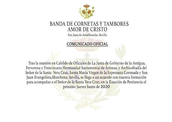 Comunicado de la CCTT Amor de Cristo de San J. de Aznalfarache (Sevilla)