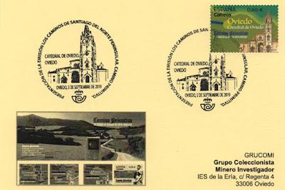Tarjeta de GRUCOMI con el matasellos de presentación de los sellos del Camino Primitivo