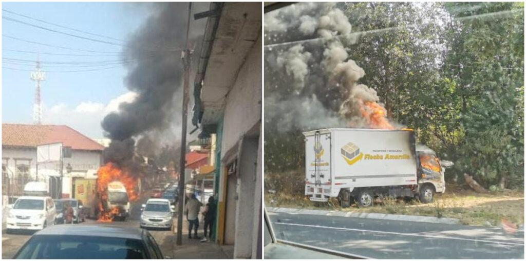 Fotos: Sicarios roban camiones y los queman en pleno centro de Uruapan; Michoacán y en la carretera a Paracho