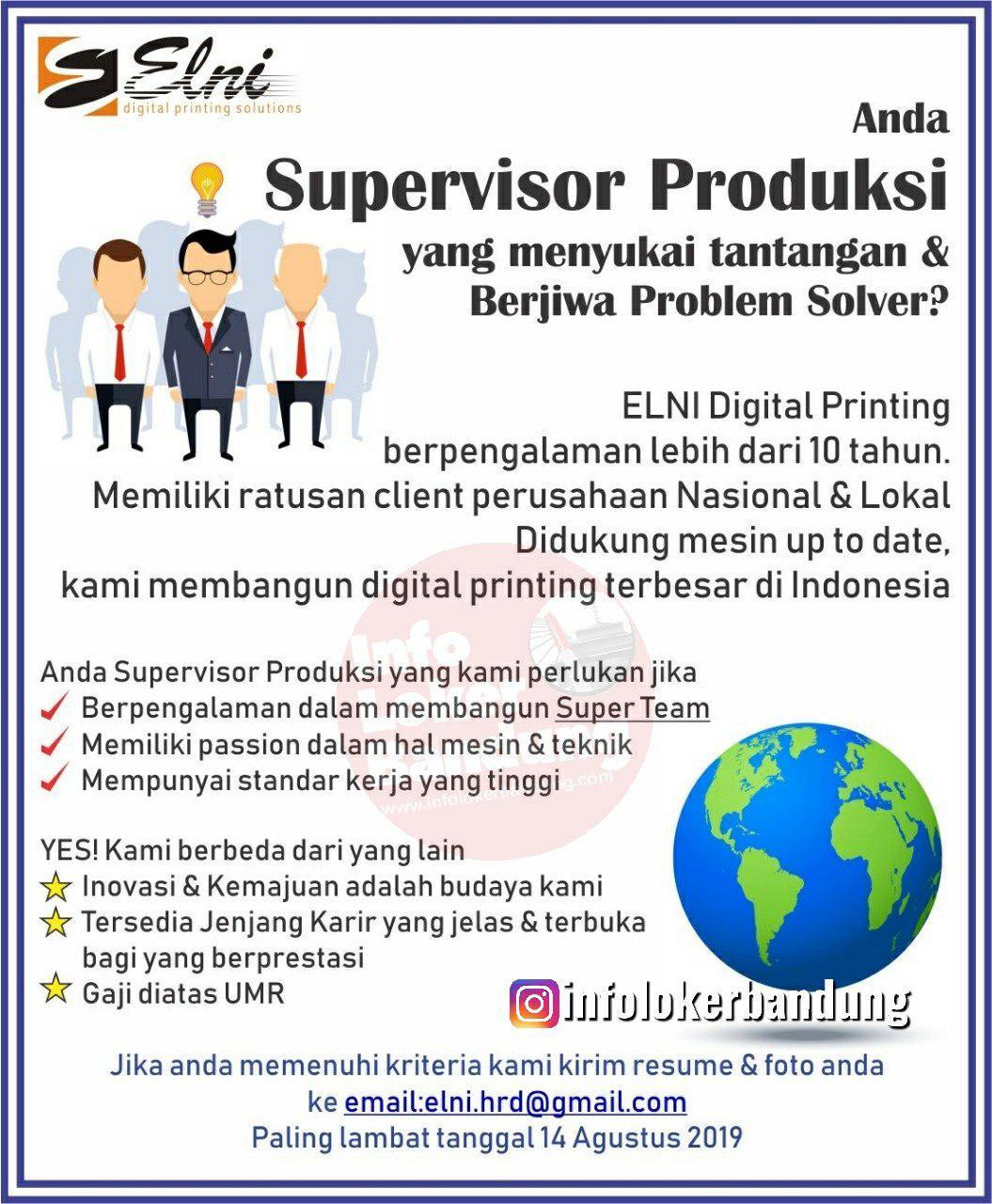 Lowongan Kerja Supervisor Produksi PT. Elni Digital Printing Bandung Agustus 2019