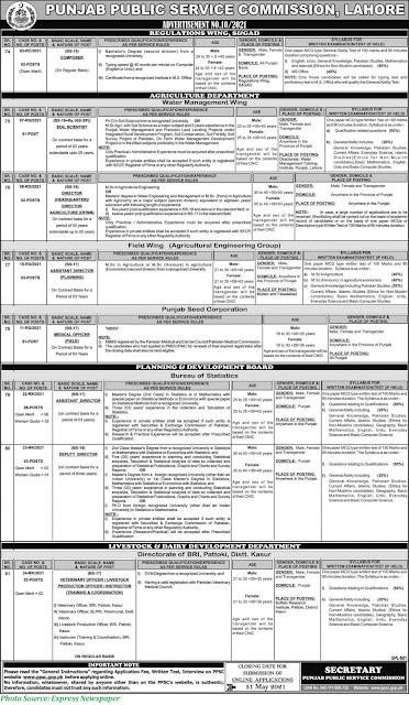 PPSC Jobs 2021 - Latest Punjab Public Service Commission Jobs Advrtisement 10/2021 Apply Online