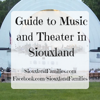 """in background, a crowd sits on benches watching the Sioux City Municipal Band perform at the Grandview Park Bandshell. In foreground, the words """"Guide to Music and Theater in Siouxland"""""""