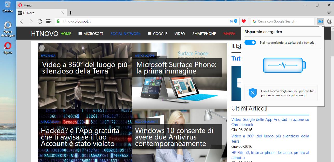 Notebook più freddo e autonomia +50% con Opera Browser HTNovo