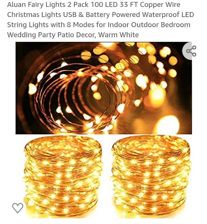 30% OFF Fairy Lights 2 Pack 100 LED 33 FT Copper Wire