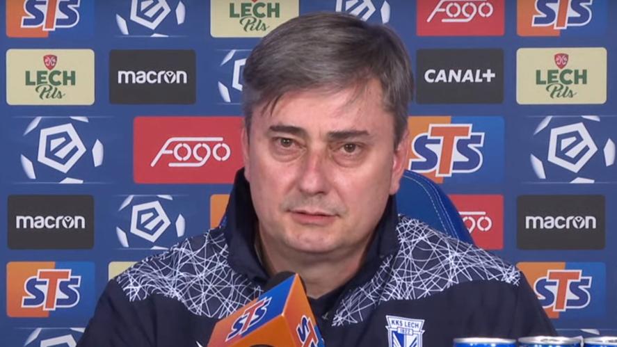 Maciej Skorża na konferencji prasowej | foto: YouTube / Lech Poznań