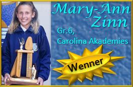Mary-Ann Zinn Gr.6, Carolina Akademies verower die trofee vir haar ouderdomskategorie met die lewering van haar redenaars-toespraak!