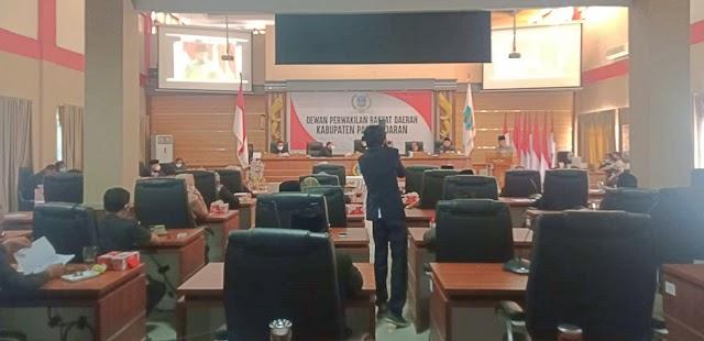 DPRD Pangandaran Adakan Rapat Paripurna Penetapan Persetujuan Terhadap Rancangan Perda Perubahan APBD 2021 Menjadi Perda serta Penjelasan Bupati Terhadap Rancangan Perda APBD 2022