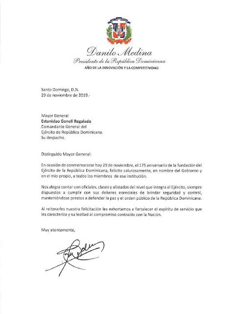 https://es.scribd.com/document/437533572/Carta-de-felicitacion-del-presidente-Danilo-Medina-por-175-aniversario-de-la-fundacion-del-Ejercito-de-la-Republica-Dominicana