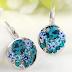 Free Blue Round Stone Earrings