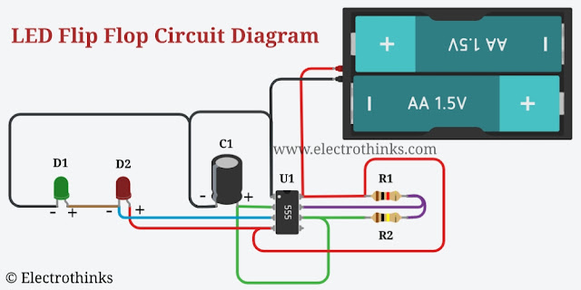 Schematic of LED Flip Flop Circuit with 555 Timer