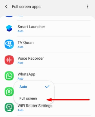 opsi whatsapp fullscreen di android