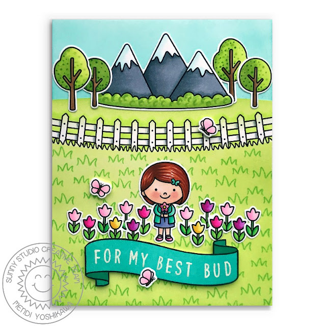 """Sunny Studio Blog: """"For My Best Bud"""" Punny Girl with Tulip Field Card (using Spring Showers, Spring Scenes, Banner Basics & Kinsley Alphabet Stamps)"""