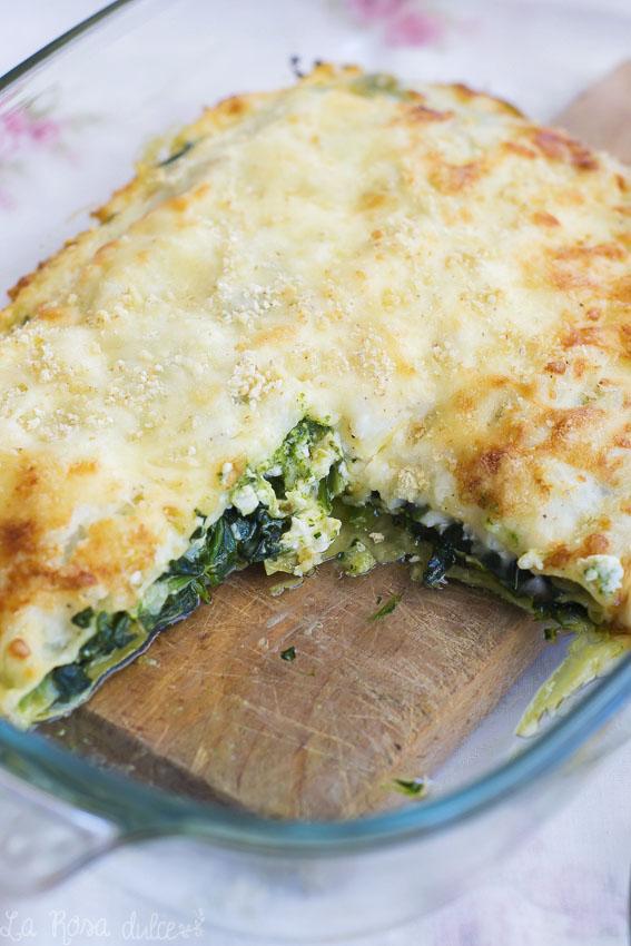 Lasaña de espinacas, ricotta y salsa pesto #sinlactosa #singluten