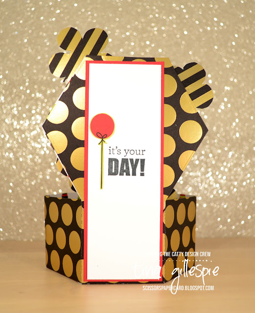 scissorspapercard, Stampin' Up!, CASEing The Catty, Broadway Bound SDSP, Window Box Thinlits, Celebrate You Thinlits, Stitched Nested Labels Dies, Itty Bitty Birthdays, Pop Up Card