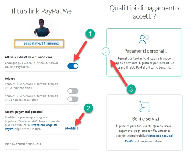 attivazione paypal.me