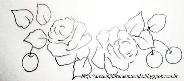 pintura em tecido pano de prato flores e frutas risco maçã e cereja