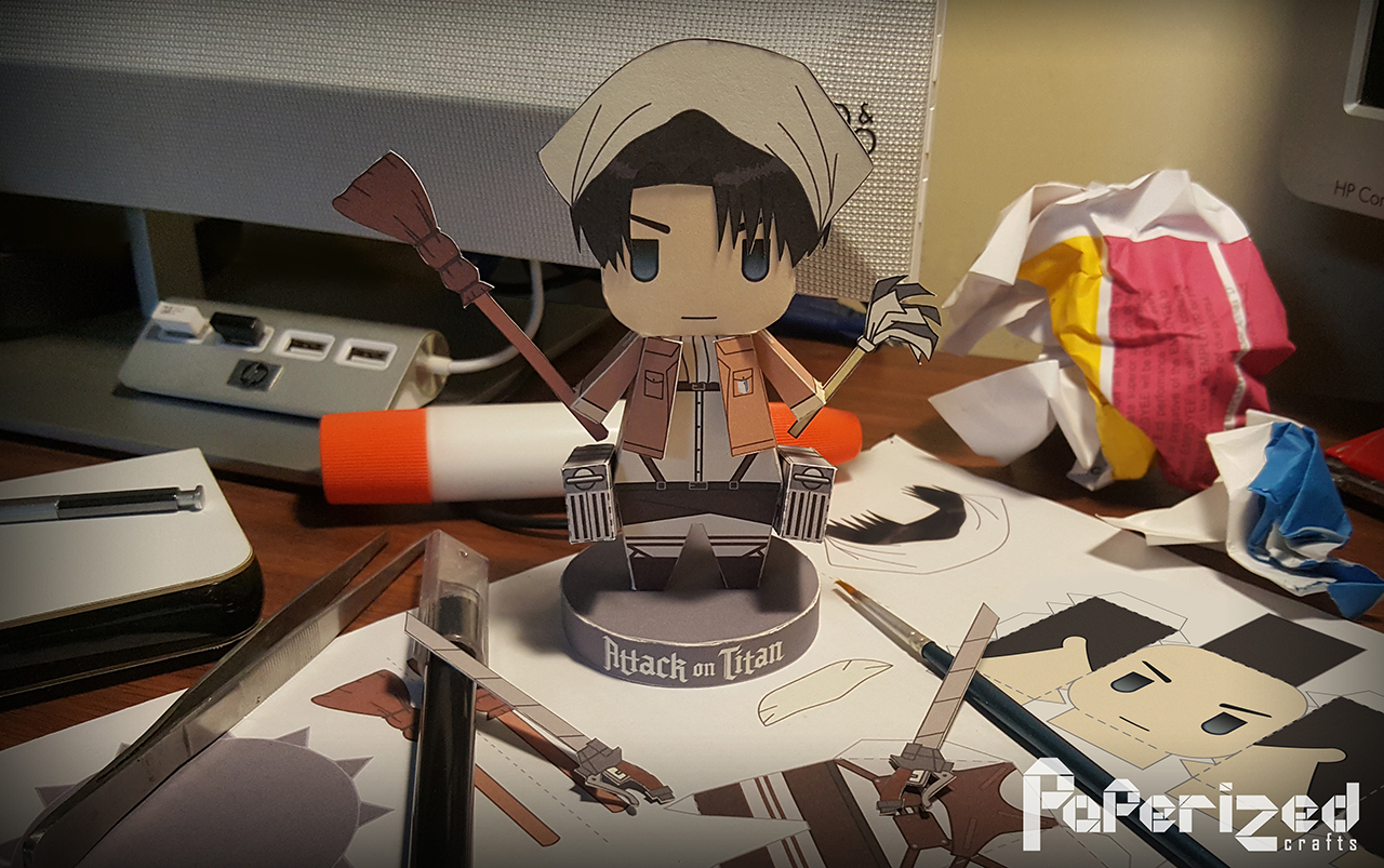 Attack on Titan: Levi Ackerman (Cleaning) Papercraft ...