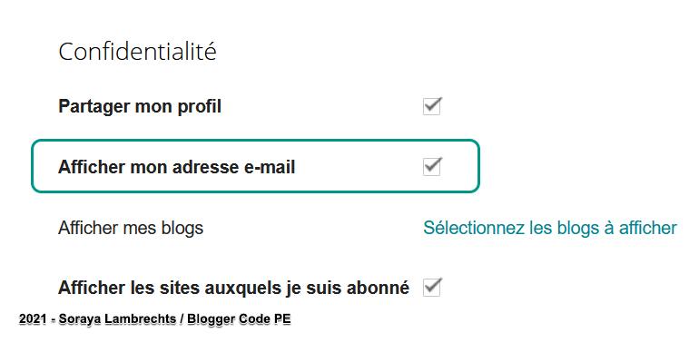 Activer/Désactiver l'affichage du lien mailto dans le profil Blogger.