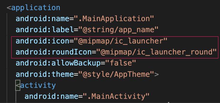 Tên icon đã được khai báo sẵn trong file AndroidManifest.xml