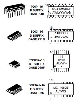 MC14060B on Chip Oscillator Buffer Marking Diagrams and Datasheet