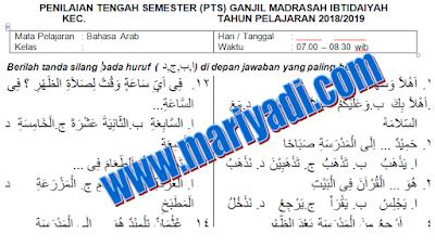 Soal PTS/UTS Bahasa Arab Kelas 1 Madrasah Ibtidaiyah Semester Ganjil Kurikulum 2013