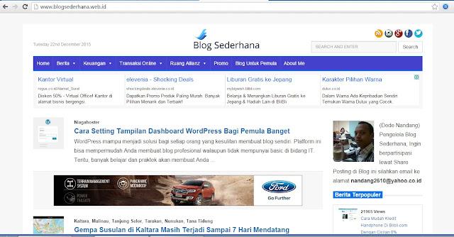 Tampilan Baru BlogSederhana dengan Theme Yang Sederhana