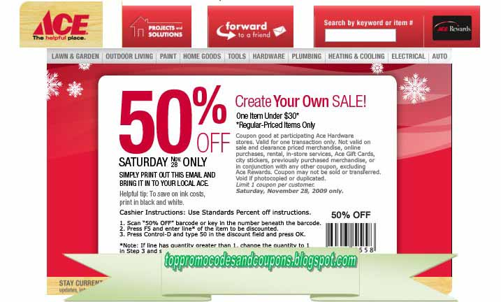 photo regarding Ace Hardware Printable Coupons named Free of charge Promo Codes and Discount coupons 2019: Ace Components Discount codes
