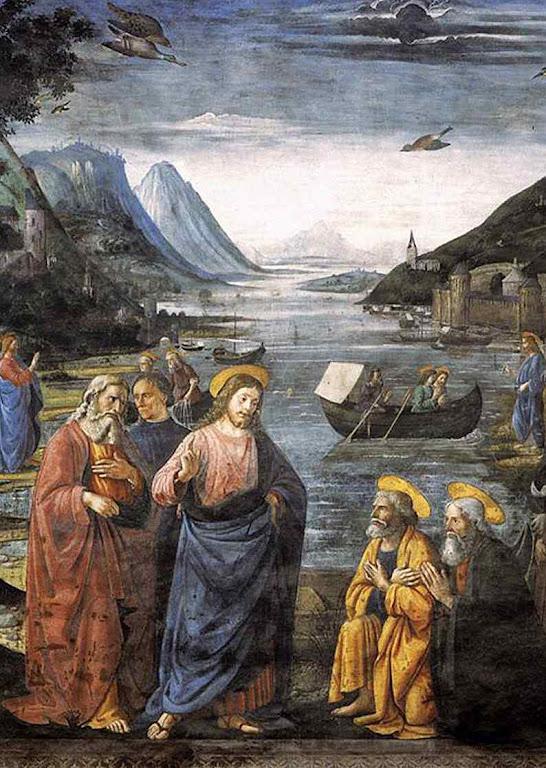Jesus envia os Apóstolos para evangelizar. Domenico Ghirlandaio (1449 – 1494)