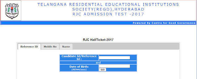 TSRJC Admission Entrance - 2017 Hall Tickets Download