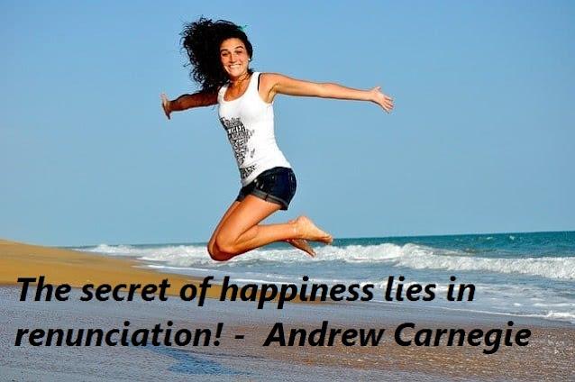 renunciation, happiness