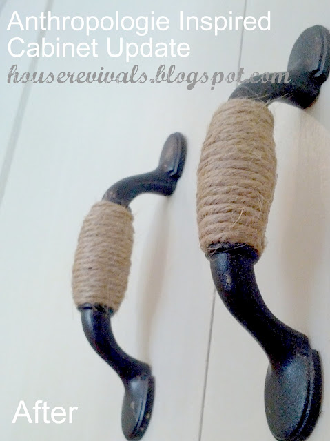 Twine wrapped cabinet hardware that takes 5 minutes to make! House Revivals via I Love That Junk