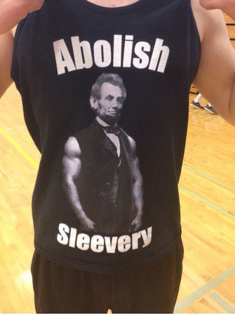 Funny Abraham Lincoln Abolish Sleevery Pun Sleeveless top