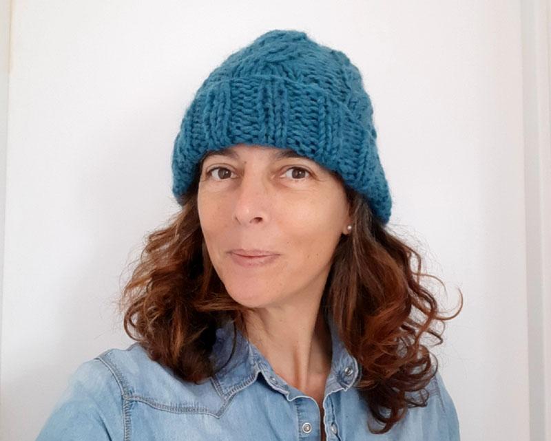 Io con il cappellino di lana con trecce