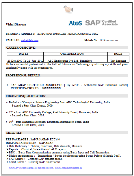 over 10000 cv and resume samples with free download  sap certified resume
