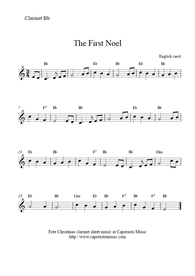 Print out the free clarinet sheet music score in png format the