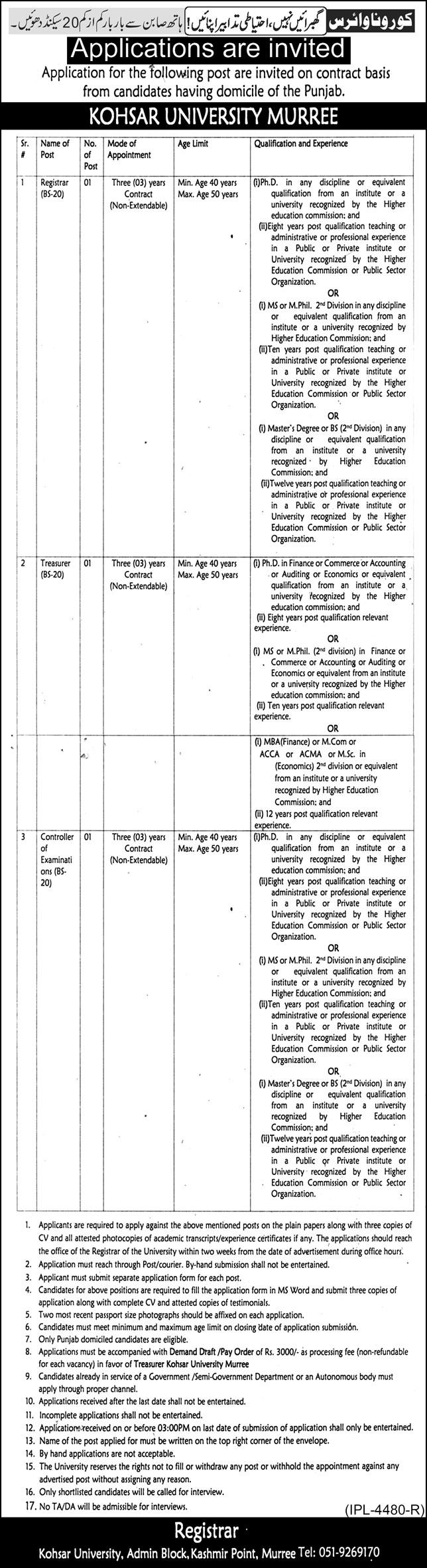 Latest Jobs In Kohsar University Murree 2021- Jobspk14.com