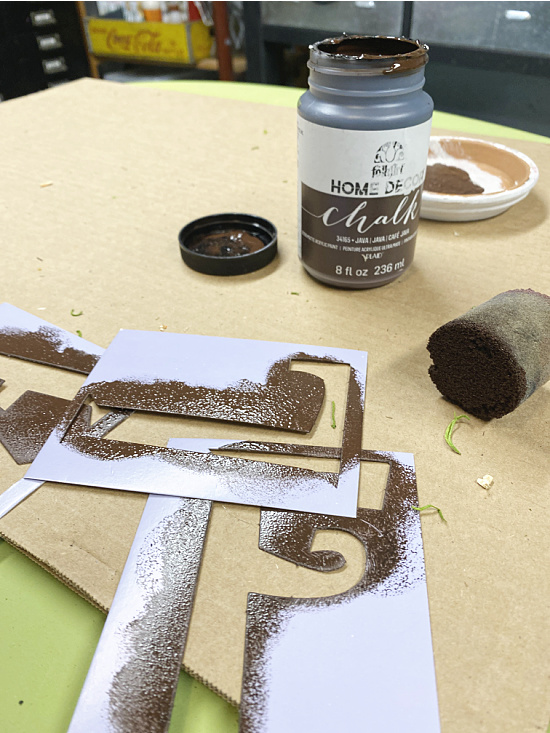 brown chalky paint and stencils