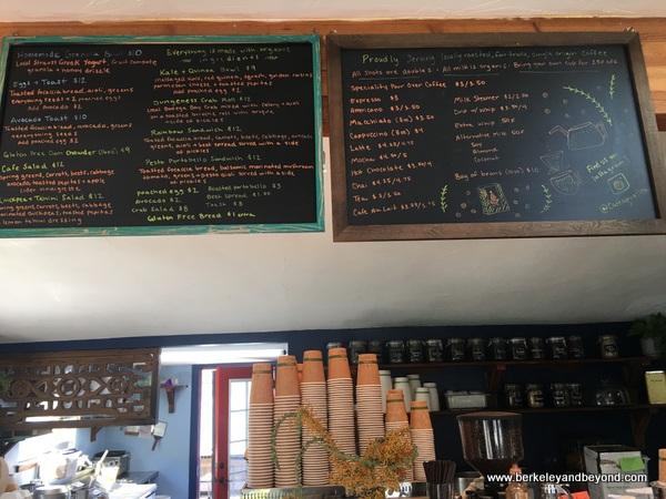 menu board at Cafe Aquatica in Jenner, California