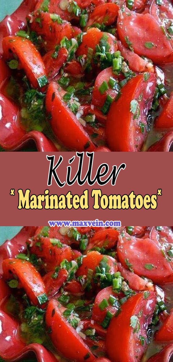 These are the most amazingly delicious tomatoes you'll ever sink your teeth into. Be sure to serve them with big hunks of yummy bread to soak up all delicious marinade. You can substitute an equal amount of halved cherry tomatoes.