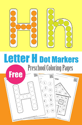 Letter H dot markers free preschool coloring pages ,learn alphabet ABC for toddlers