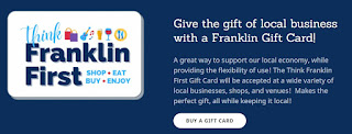 Think Franklin First - gift cards now on sale