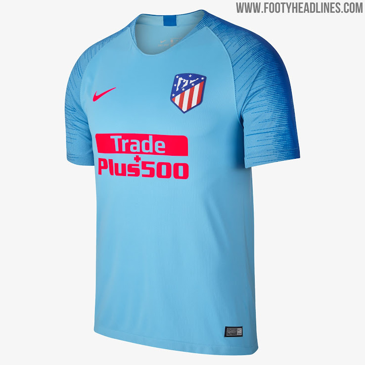 Atletico Madrid 18-19 Away Kit. Atlético Madrid s 18-19 away jersey is bright  blue and red. a9411e2ae